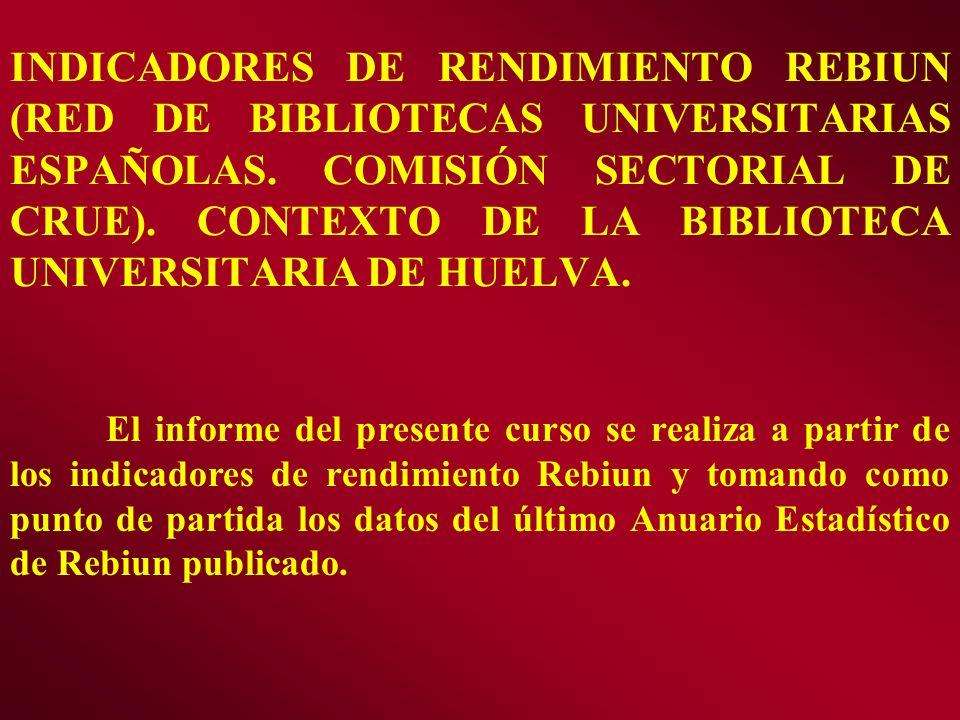 INDICADORES DE RENDIMIENTO REBIUN (RED DE BIBLIOTECAS UNIVERSITARIAS ESPAÑOLAS. COMISIÓN SECTORIAL DE CRUE). CONTEXTO DE LA BIBLIOTECA UNIVERSITARIA DE HUELVA.