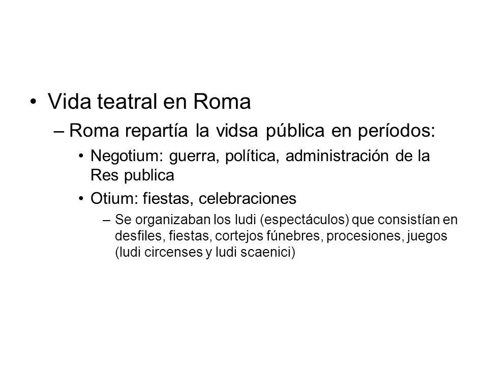 Vida teatral en Roma Roma repartía la vidsa pública en períodos: