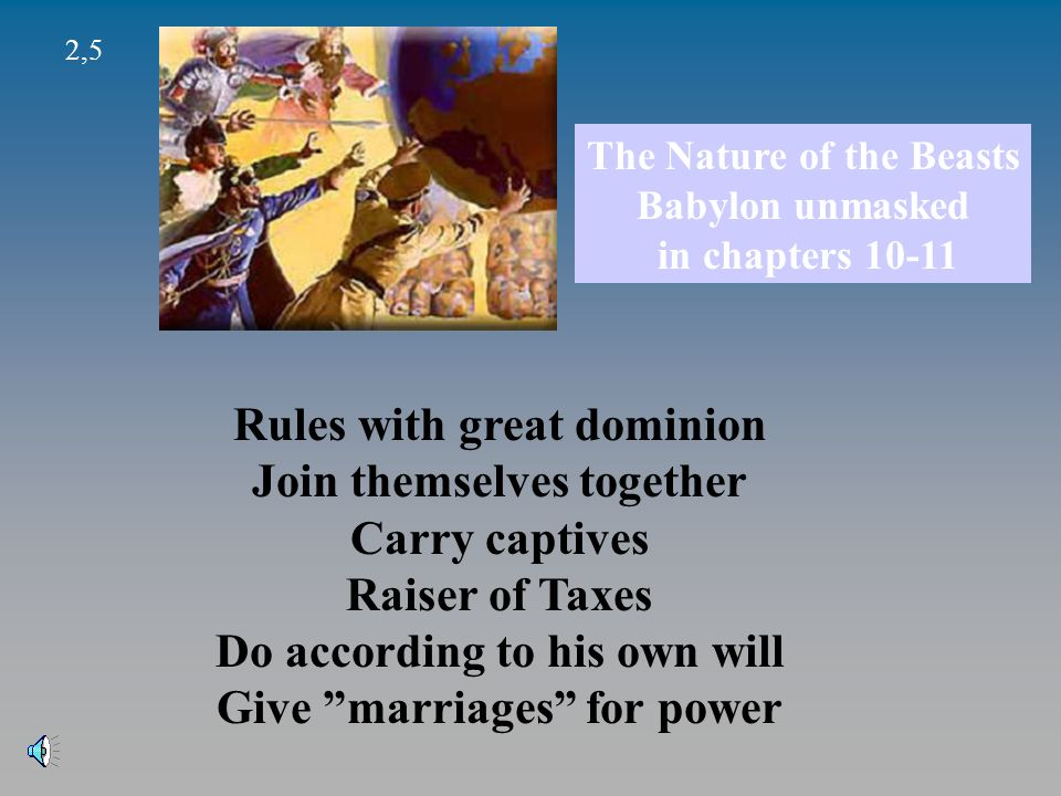 Rules with great dominion Join themselves together Carry captives