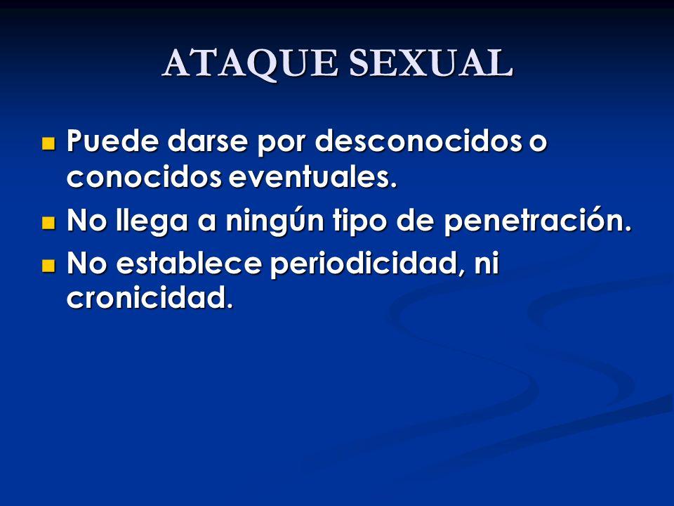 ATAQUE SEXUAL Puede darse por desconocidos o conocidos eventuales.