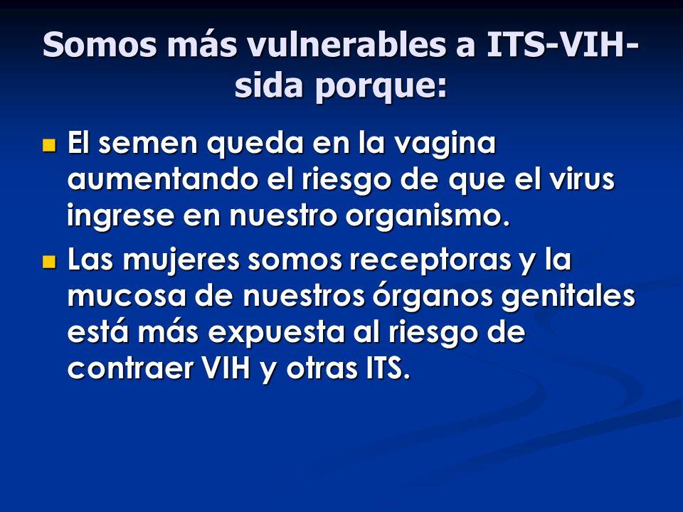Somos más vulnerables a ITS-VIH-sida porque: