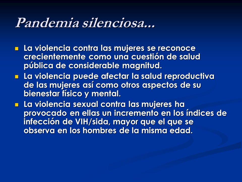 Pandemia silenciosa... La violencia contra las mujeres se reconoce crecientemente como una cuestión de salud pública de considerable magnitud.