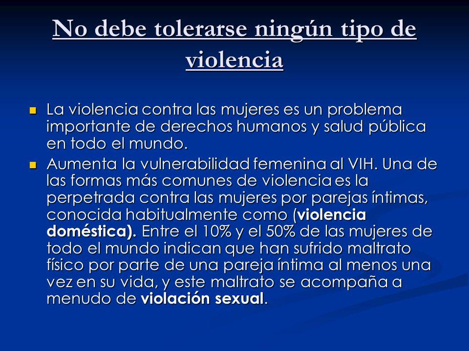 No debe tolerarse ningún tipo de violencia
