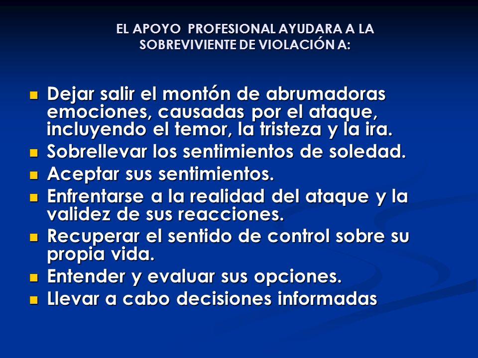 EL APOYO PROFESIONAL AYUDARA A LA SOBREVIVIENTE DE VIOLACIÓN A: