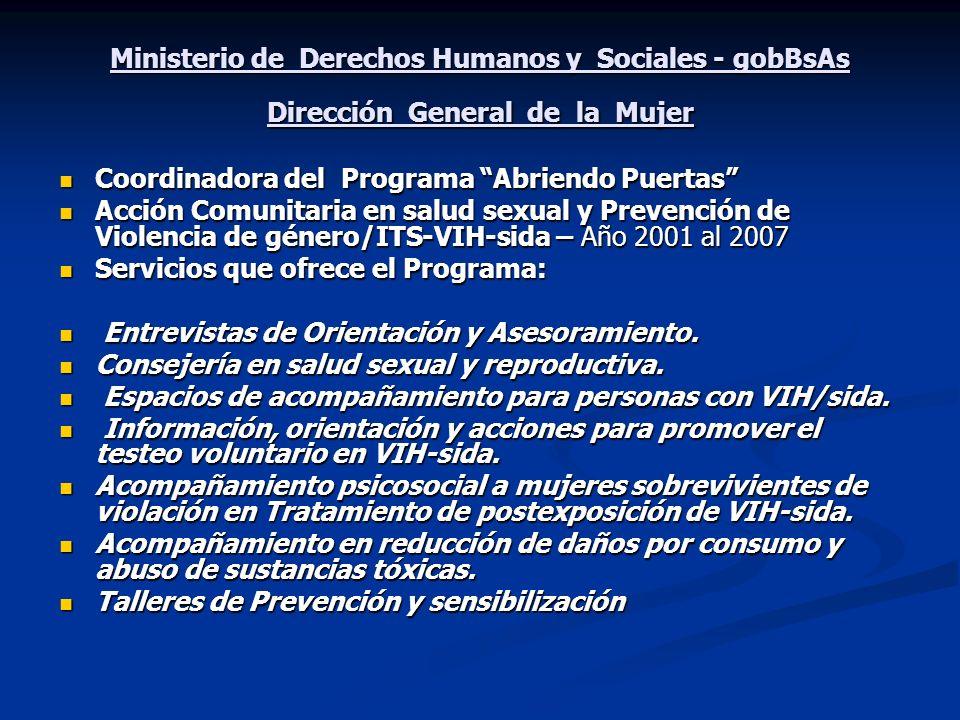 Ministerio de Derechos Humanos y Sociales - gobBsAs Dirección General de la Mujer