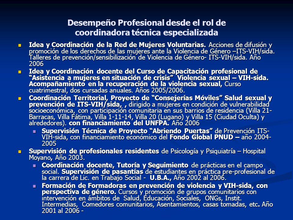 Desempeño Profesional desde el rol de coordinadora técnica especializada