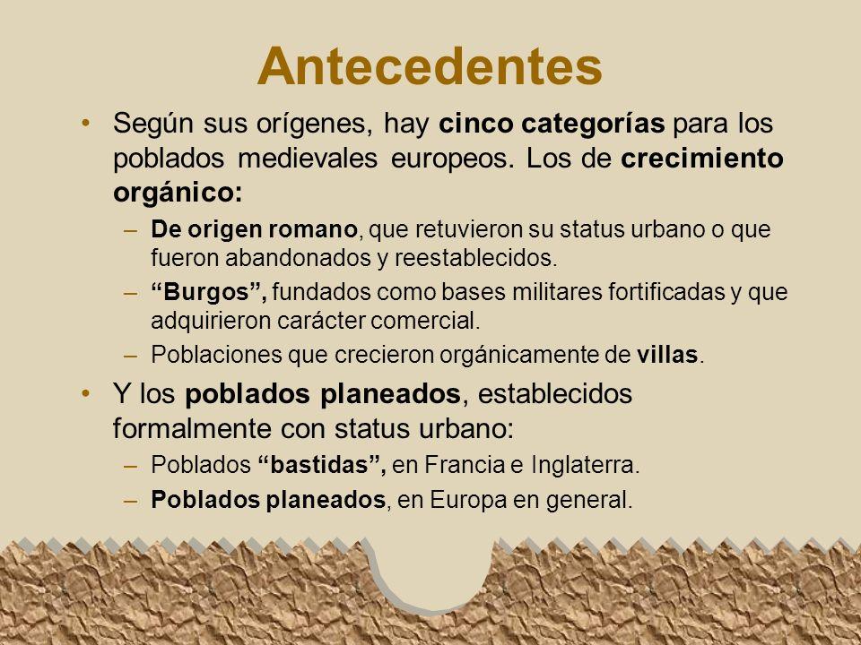 Antecedentes Según sus orígenes, hay cinco categorías para los poblados medievales europeos. Los de crecimiento orgánico: