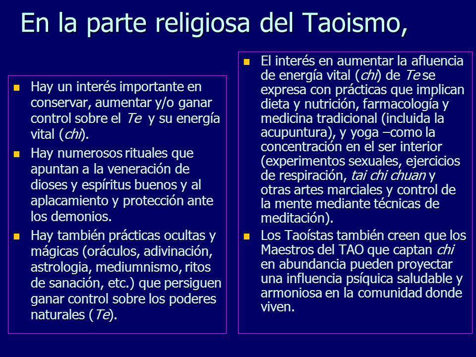 En la parte religiosa del Taoismo,