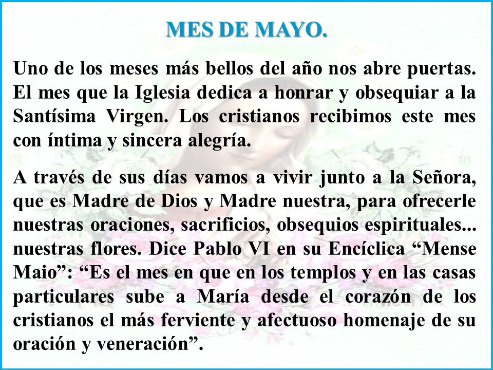MES DE MAYO.