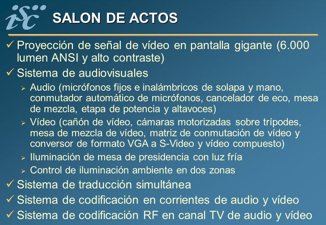 SALON DE ACTOS Proyección de señal de vídeo en pantalla gigante (6.000 lumen ANSI y alto contraste)