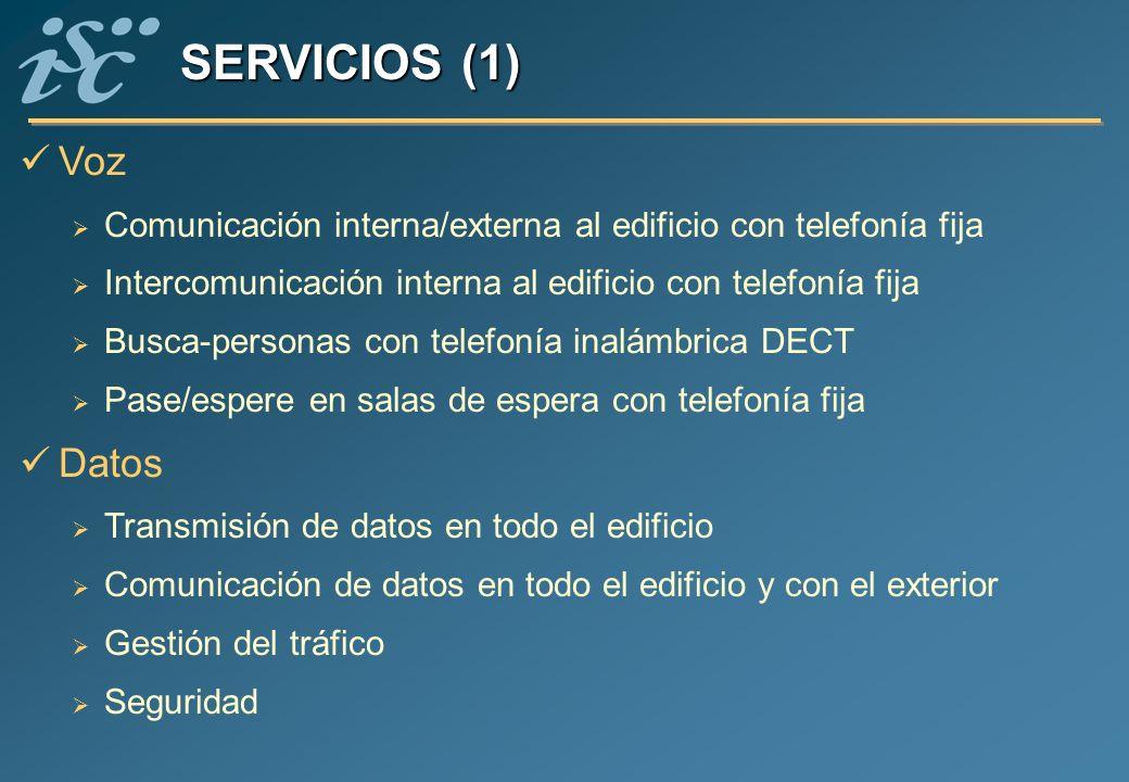 SERVICIOS (1) Voz. Comunicación interna/externa al edificio con telefonía fija. Intercomunicación interna al edificio con telefonía fija.