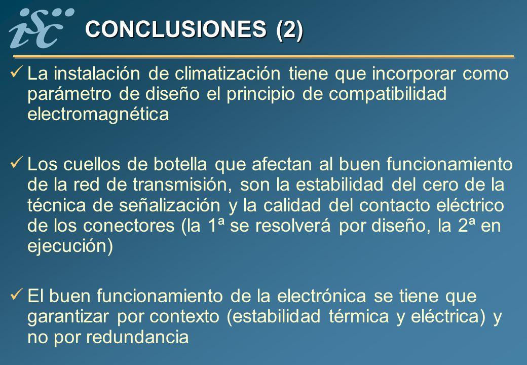 CONCLUSIONES (2) La instalación de climatización tiene que incorporar como parámetro de diseño el principio de compatibilidad electromagnética.