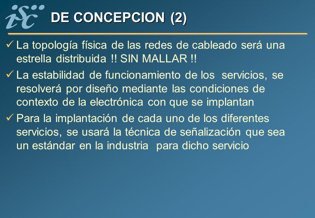 DE CONCEPCION (2) La topología física de las redes de cableado será una estrella distribuida !! SIN MALLAR !!