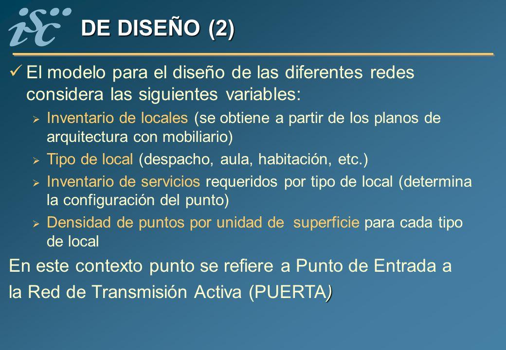 DE DISEÑO (2) El modelo para el diseño de las diferentes redes considera las siguientes variables: