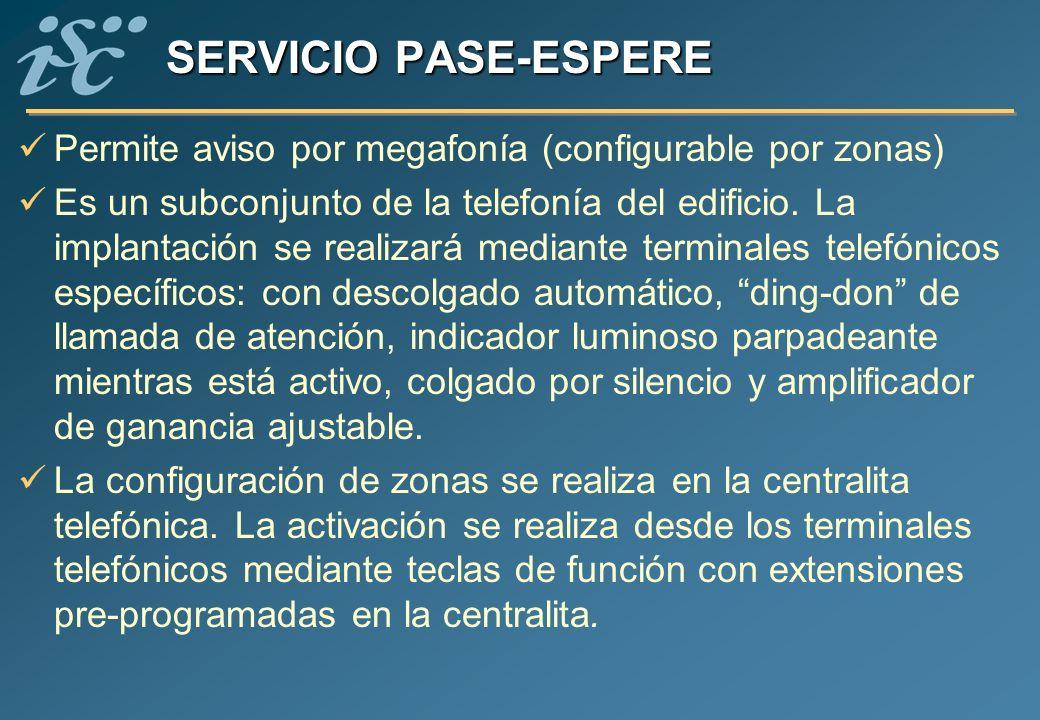 SERVICIO PASE-ESPERE Permite aviso por megafonía (configurable por zonas)