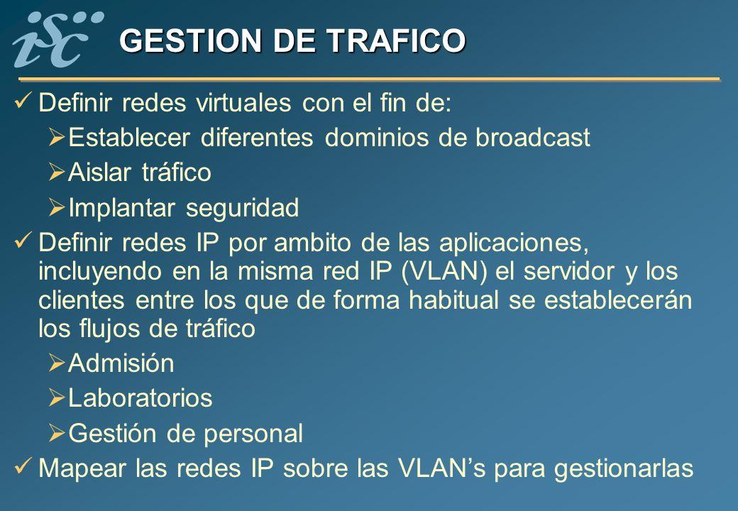GESTION DE TRAFICO Definir redes virtuales con el fin de: