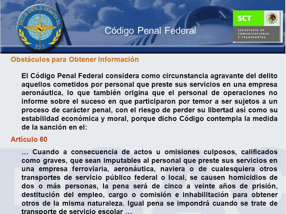 Código Penal Federal Obstáculos para Obtener Información
