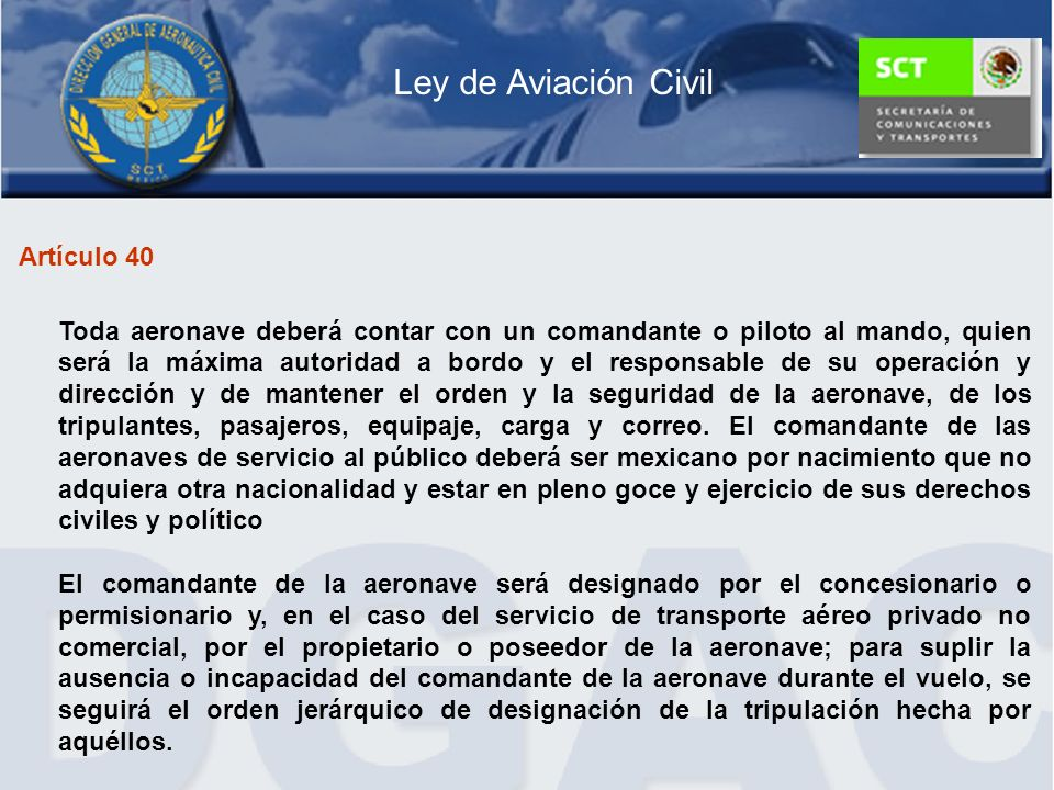 Ley de Aviación Civil Artículo 40