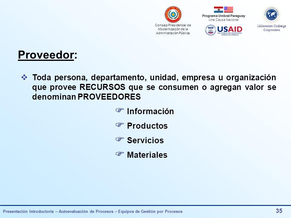 Proveedor: Toda persona, departamento, unidad, empresa u organización que provee RECURSOS que se consumen o agregan valor se denominan PROVEEDORES.