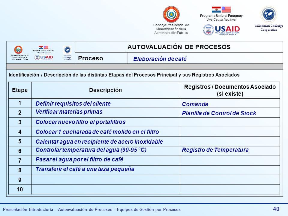 AUTOVALUACIÓN DE PROCESOS Registros / Documentos Asociado (si existe)