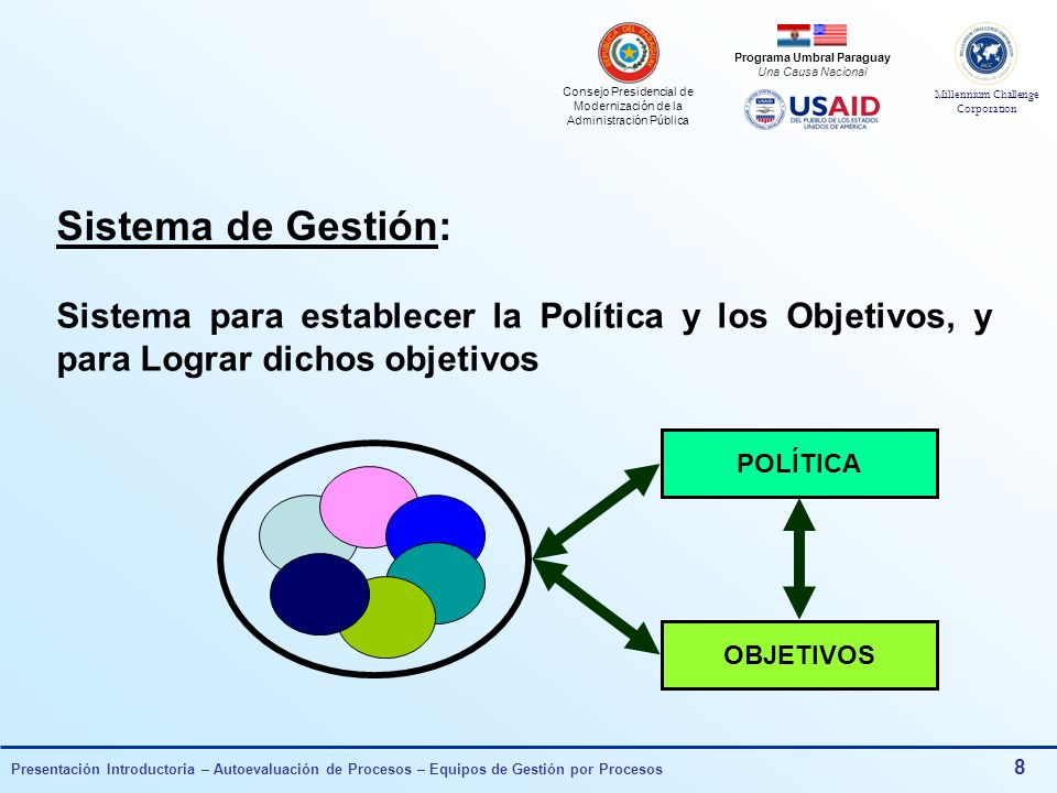 Sistema de Gestión: Sistema para establecer la Política y los Objetivos, y para Lograr dichos objetivos.
