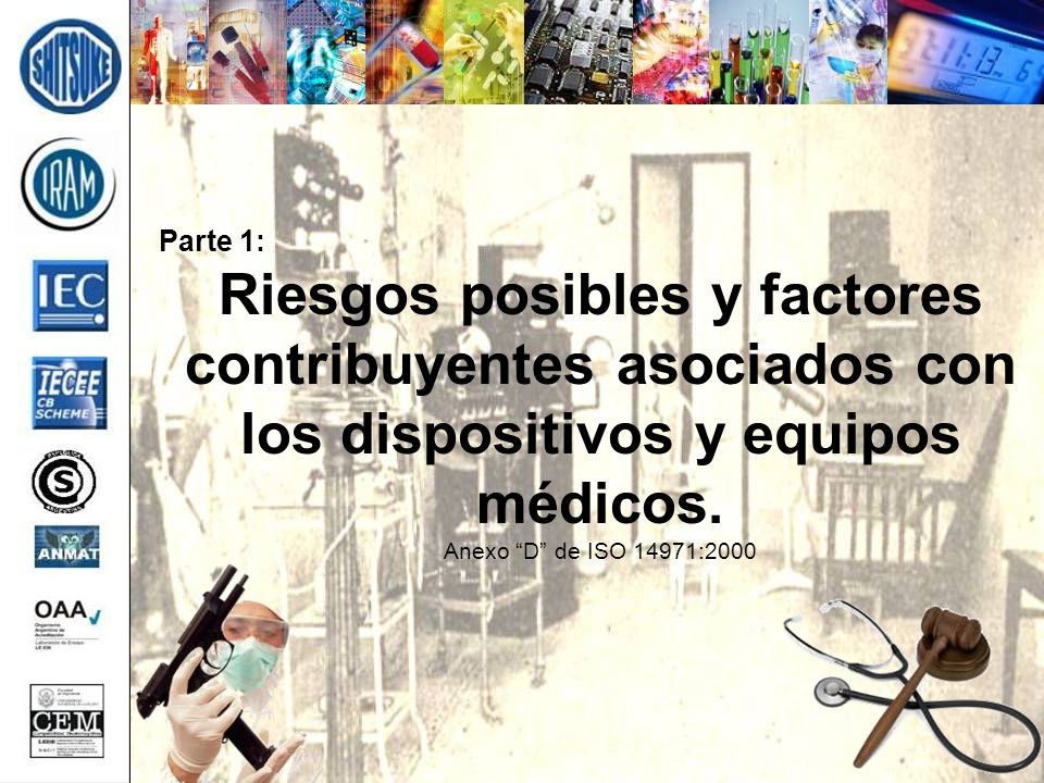Parte 1: Riesgos posibles y factores contribuyentes asociados con los dispositivos y equipos médicos.