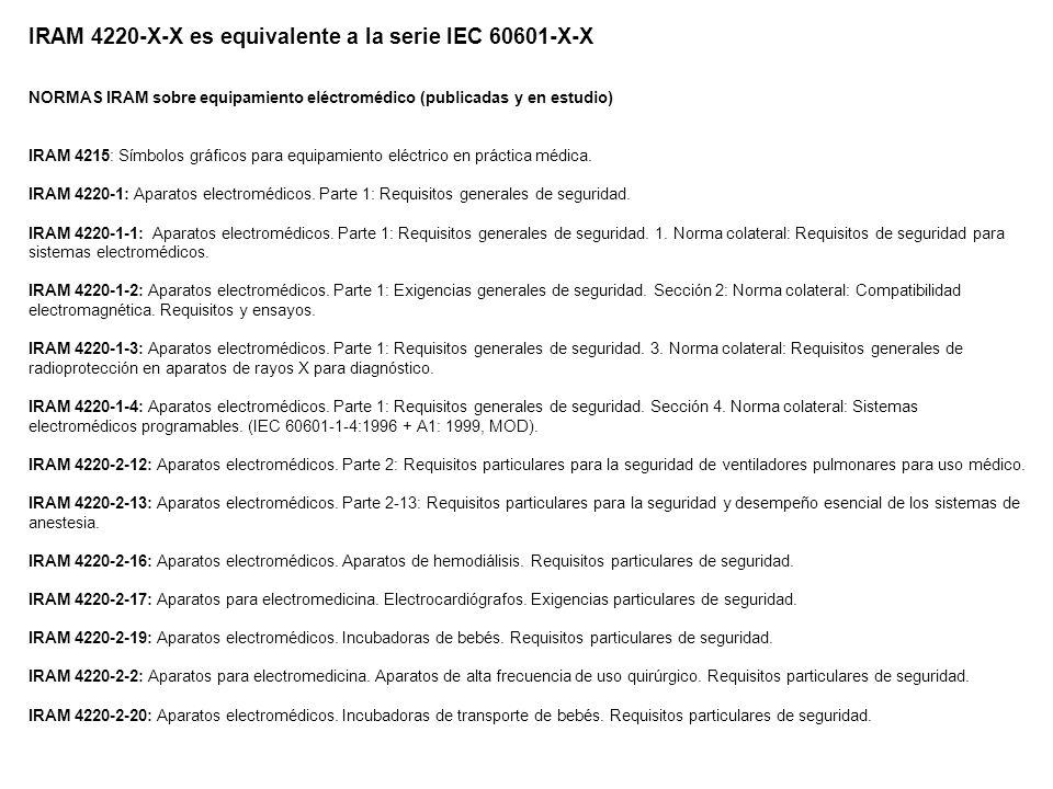 IRAM 4220-X-X es equivalente a la serie IEC 60601-X-X