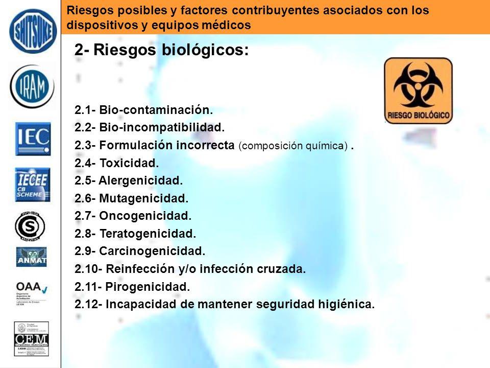 Riesgos posibles y factores contribuyentes asociados con los dispositivos y equipos médicos