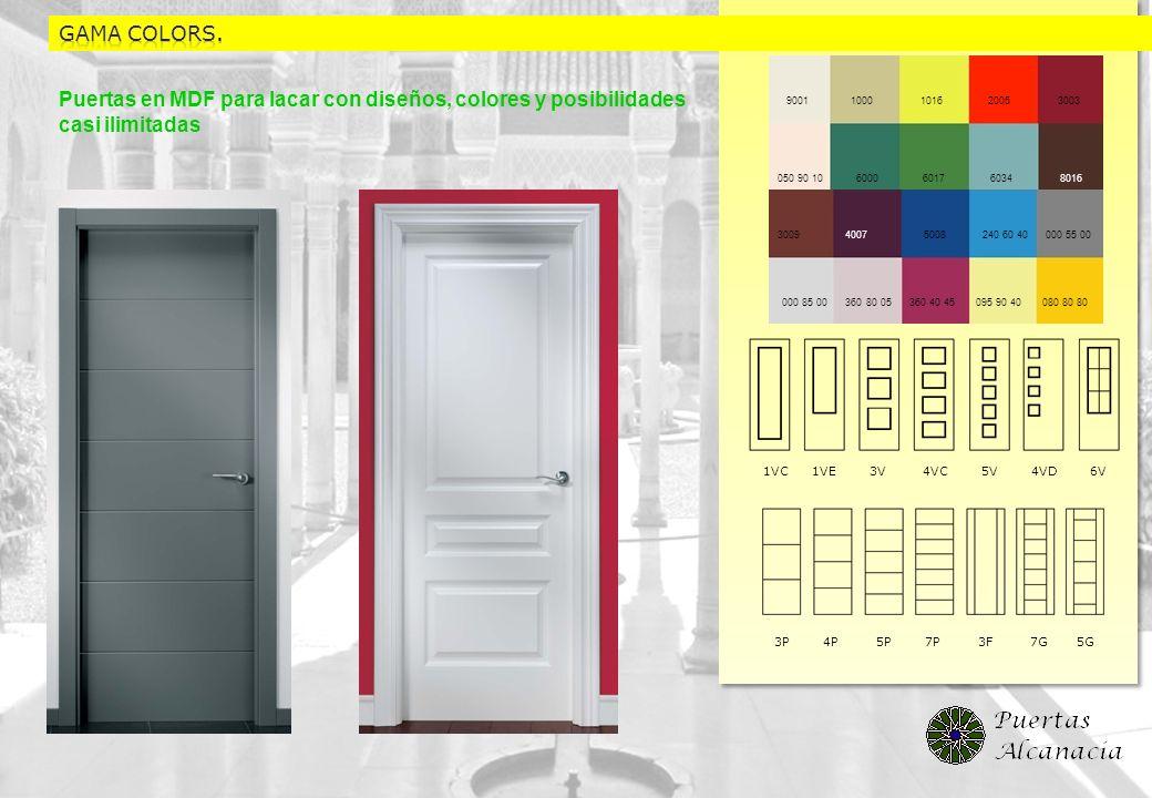 GAMA colors.Puertas en MDF para lacar con diseños, colores y posibilidades casi ilimitadas.