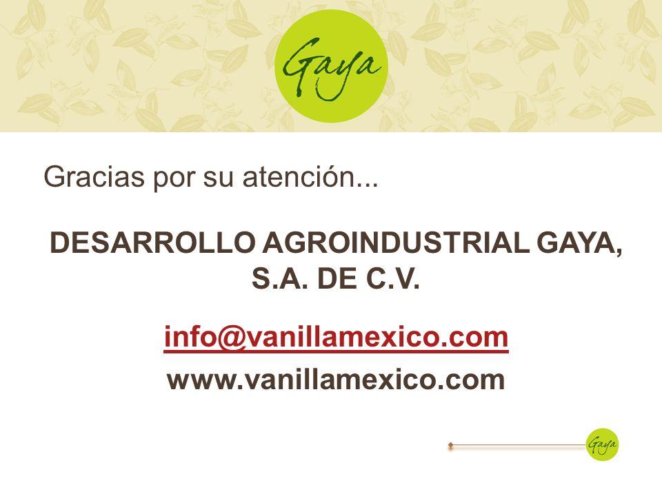 Gracias por su atención. DESARROLLO AGROINDUSTRIAL GAYA, S. A. DE C. V