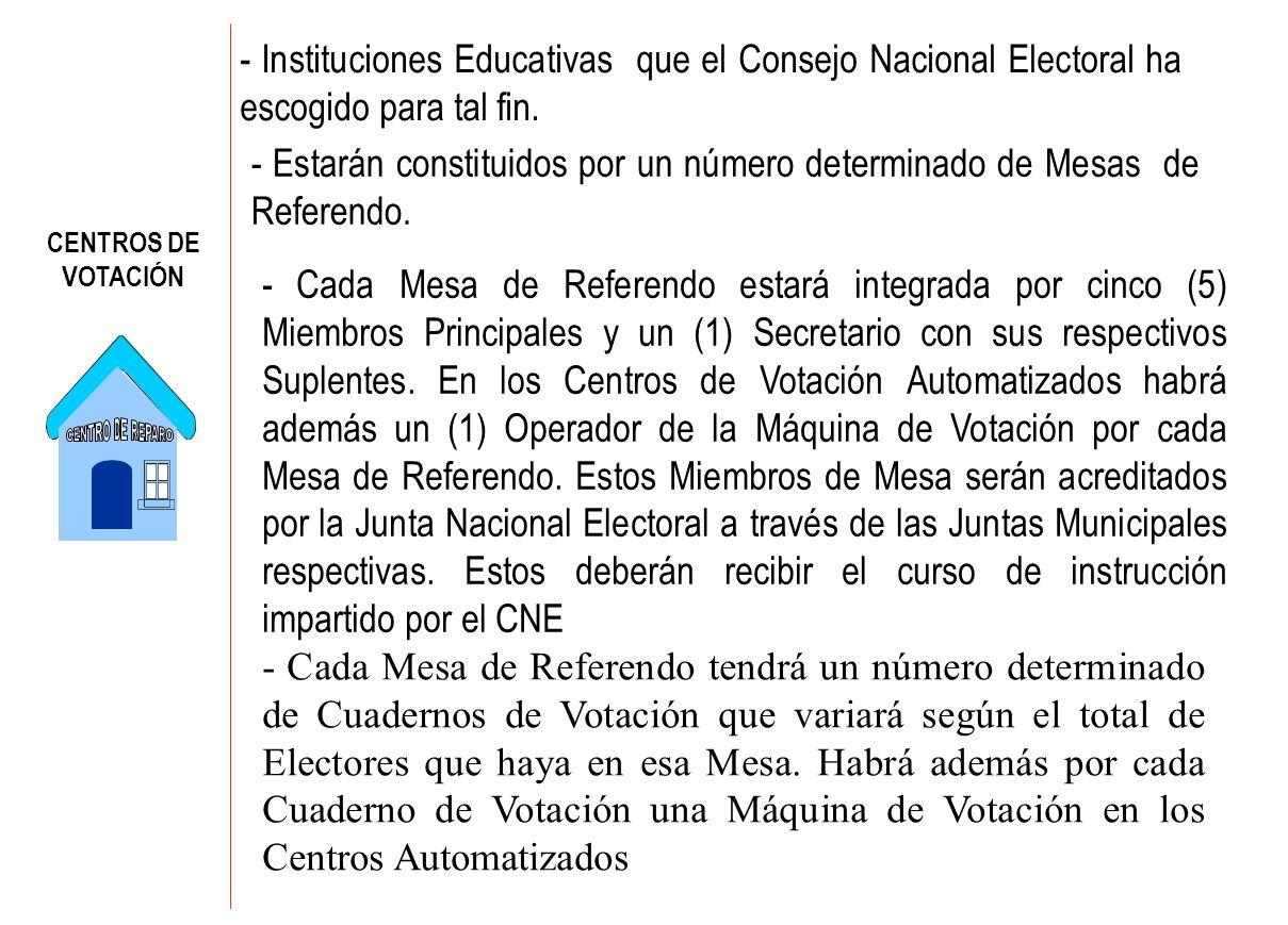 - Instituciones Educativas que el Consejo Nacional Electoral ha escogido para tal fin.