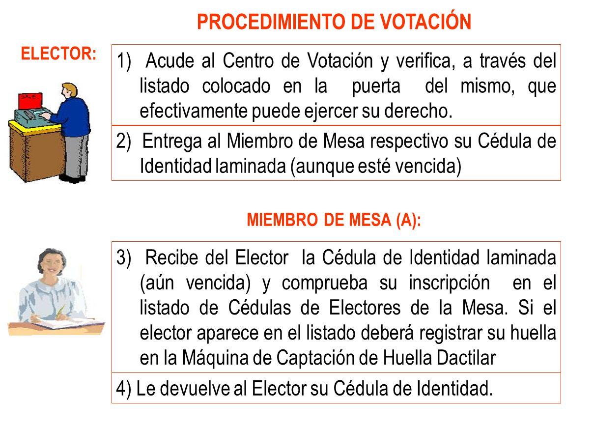 PROCEDIMIENTO DE VOTACIÓN
