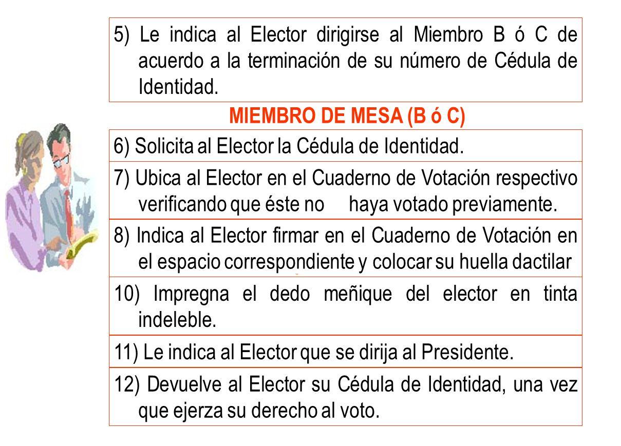 5) Le indica al Elector dirigirse al Miembro B ó C de acuerdo a la terminación de su número de Cédula de Identidad.