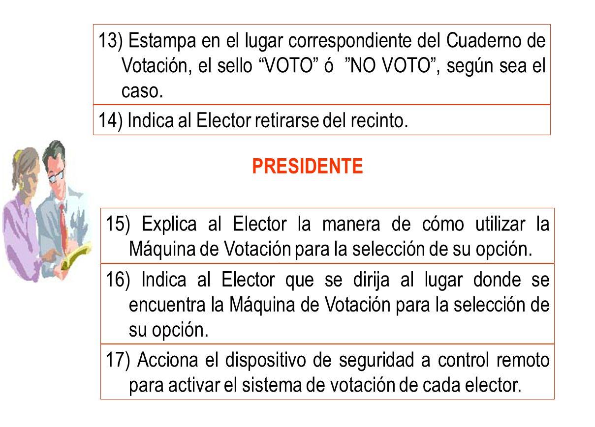 13) Estampa en el lugar correspondiente del Cuaderno de Votación, el sello VOTO ó NO VOTO , según sea el caso.