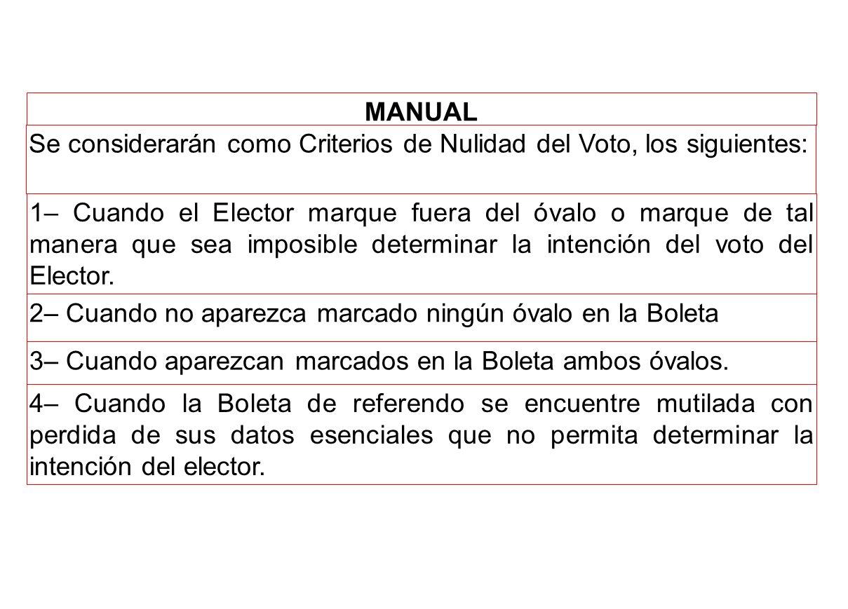 MANUAL Se considerarán como Criterios de Nulidad del Voto, los siguientes: