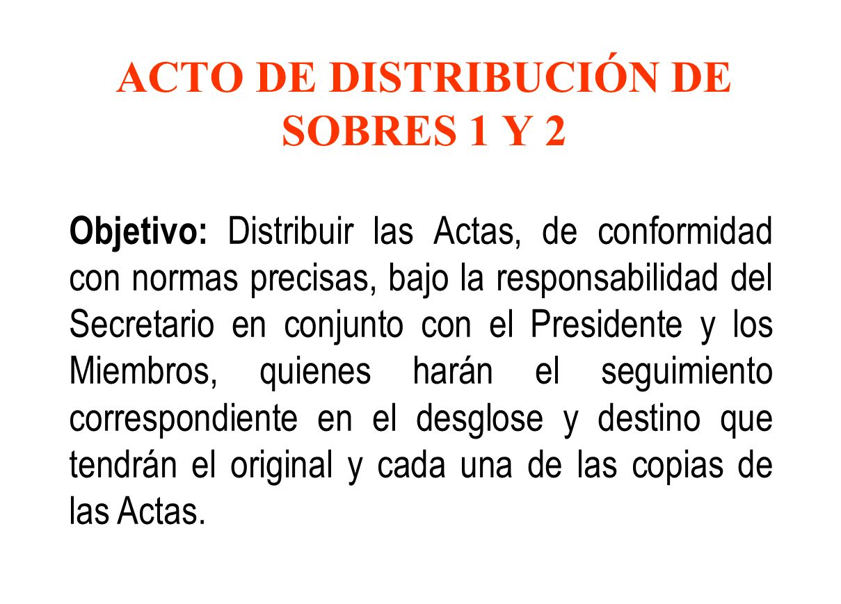 ACTO DE DISTRIBUCIÓN DE SOBRES 1 Y 2