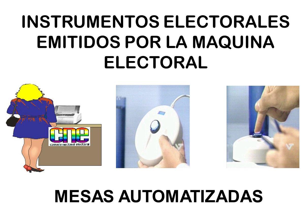 INSTRUMENTOS ELECTORALES EMITIDOS POR LA MAQUINA ELECTORAL