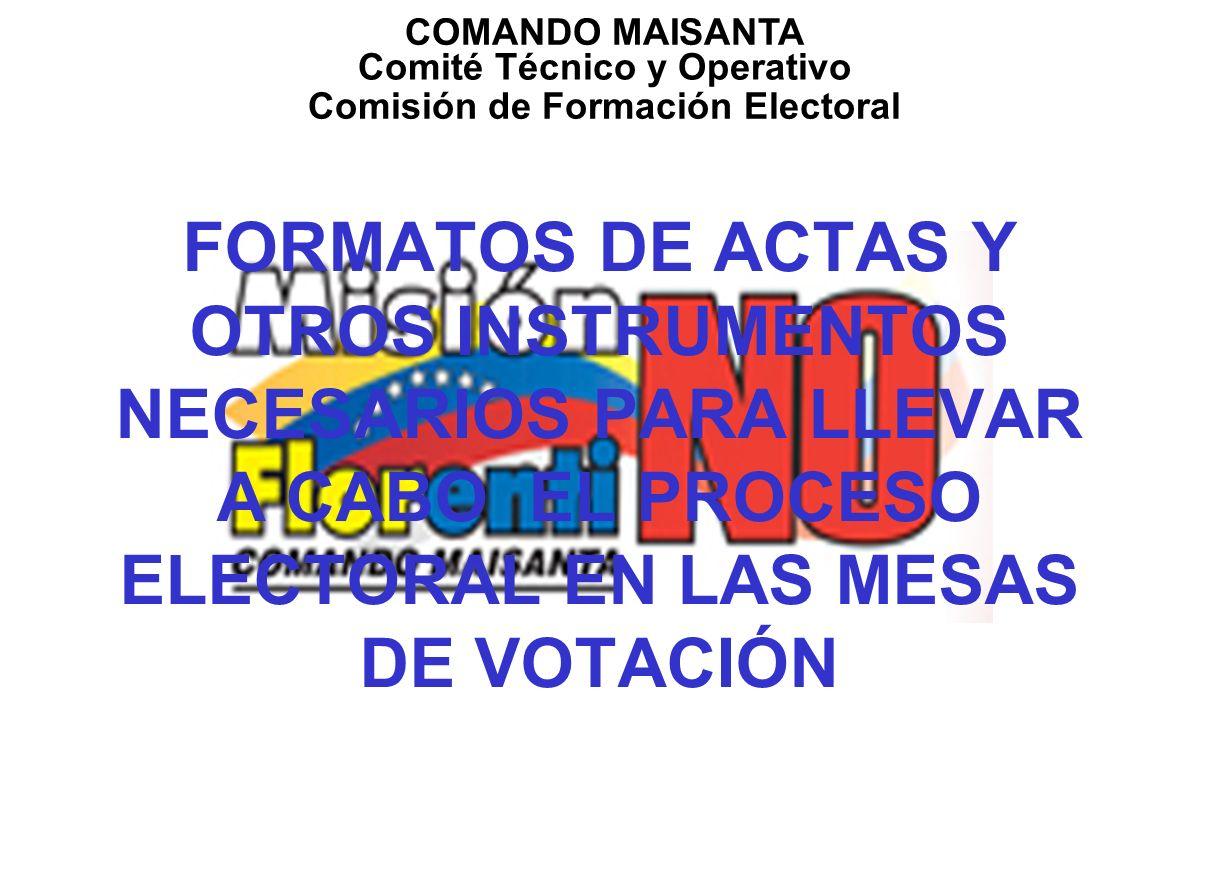 Comité Técnico y Operativo Comisión de Formación Electoral