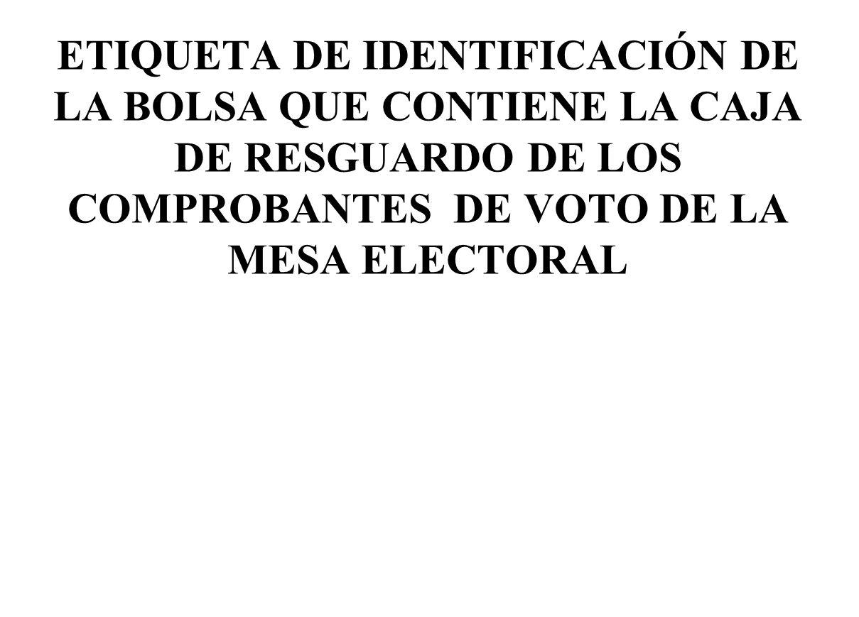 ETIQUETA DE IDENTIFICACIÓN DE LA BOLSA QUE CONTIENE LA CAJA DE RESGUARDO DE LOS COMPROBANTES DE VOTO DE LA MESA ELECTORAL
