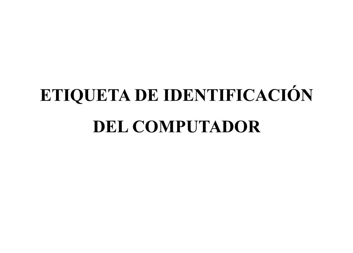 ETIQUETA DE IDENTIFICACIÓN