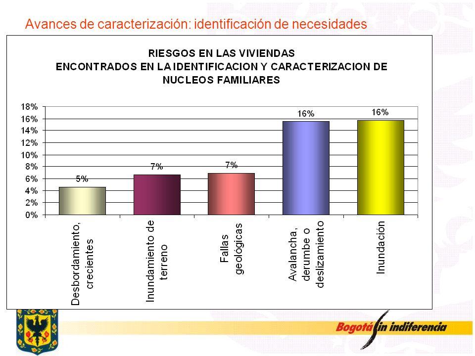Avances de caracterización: identificación de necesidades