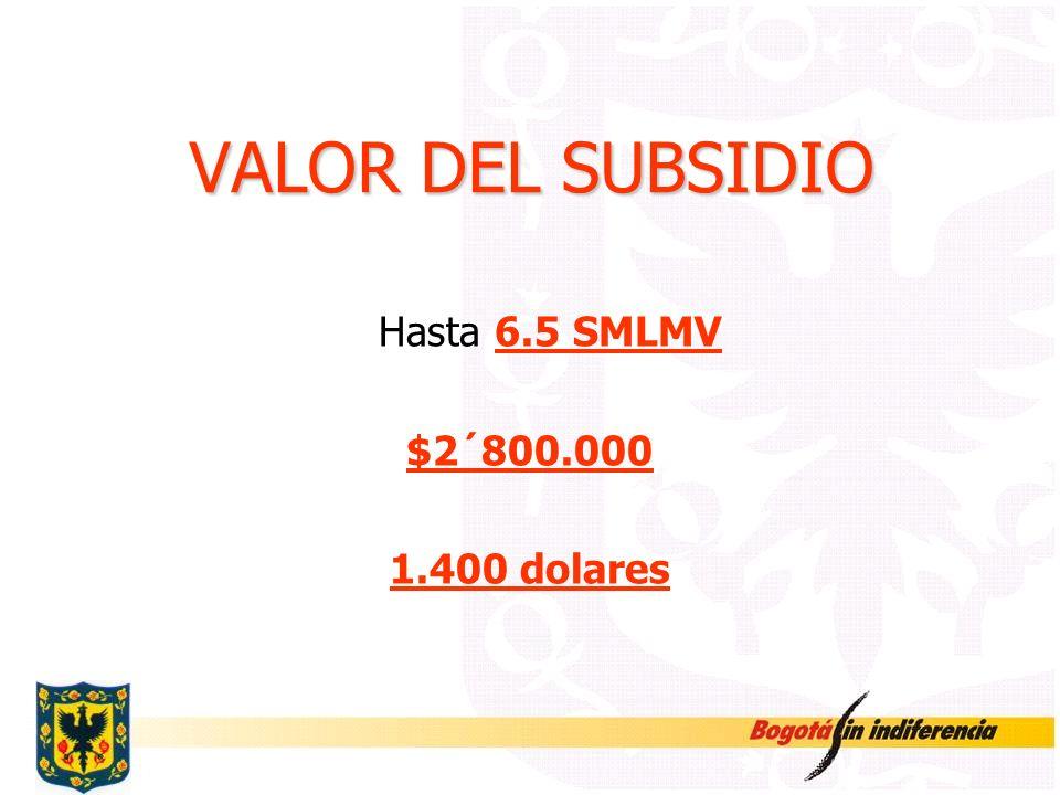 VALOR DEL SUBSIDIO Hasta 6.5 SMLMV $2´800.000 1.400 dolares