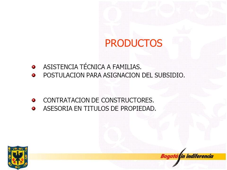 PRODUCTOS ASISTENCIA TÉCNICA A FAMILIAS.