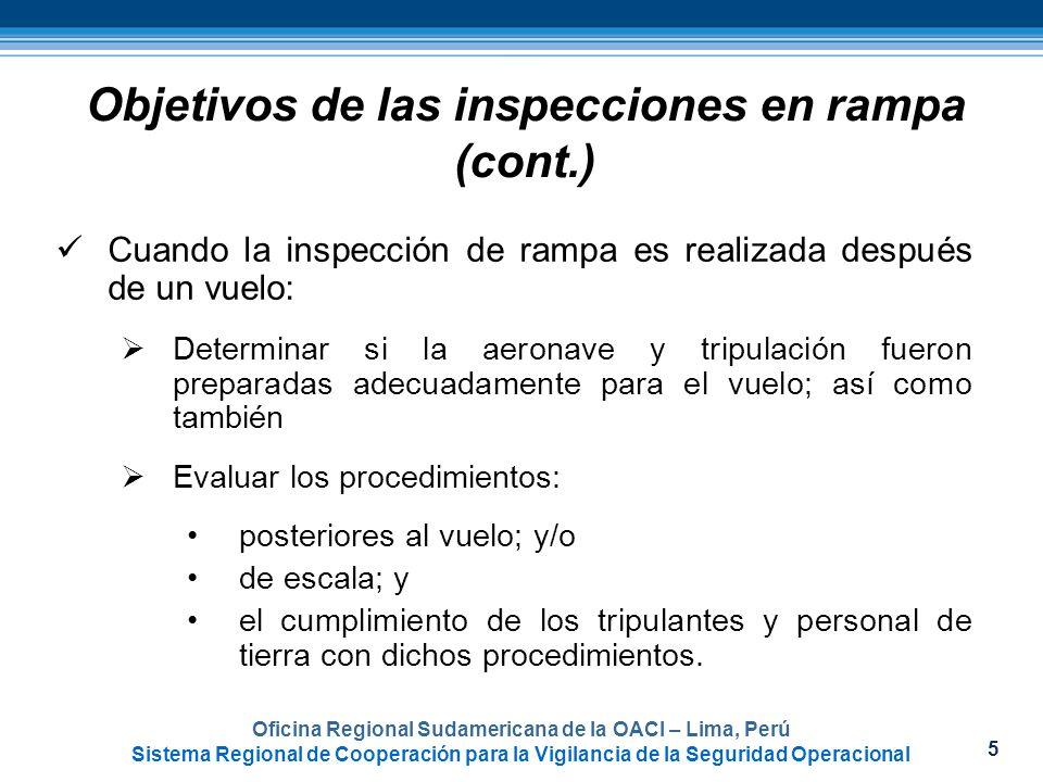 Objetivos de las inspecciones en rampa (cont.)