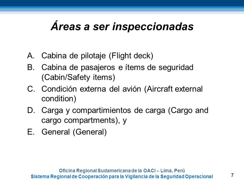 Áreas a ser inspeccionadas