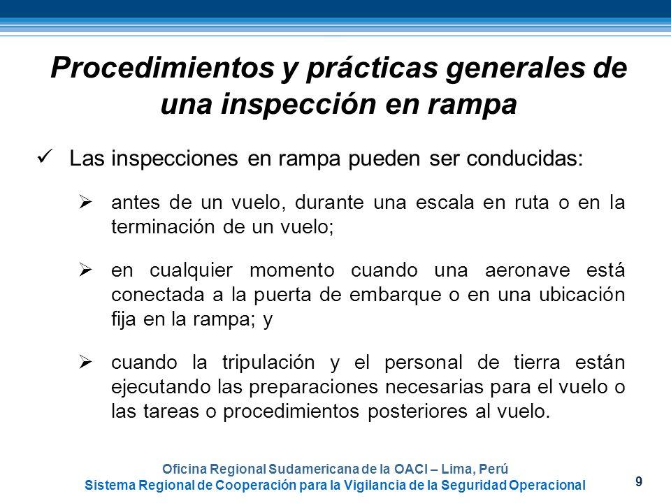 Procedimientos y prácticas generales de una inspección en rampa