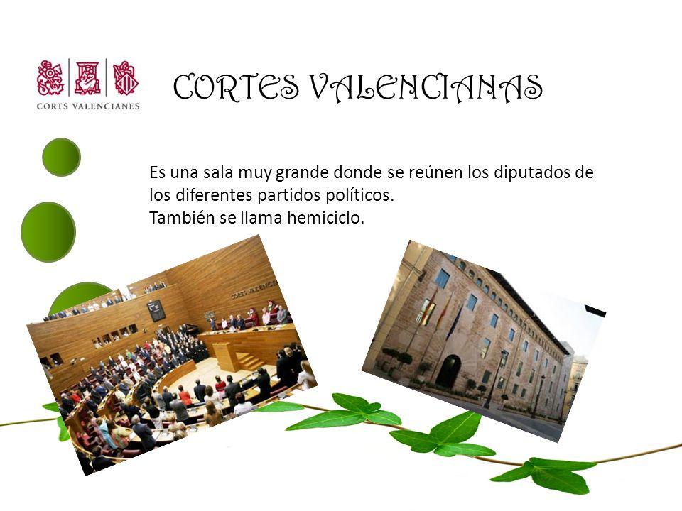 CORTES VALENCIANAS Es una sala muy grande donde se reúnen los diputados de los diferentes partidos políticos.