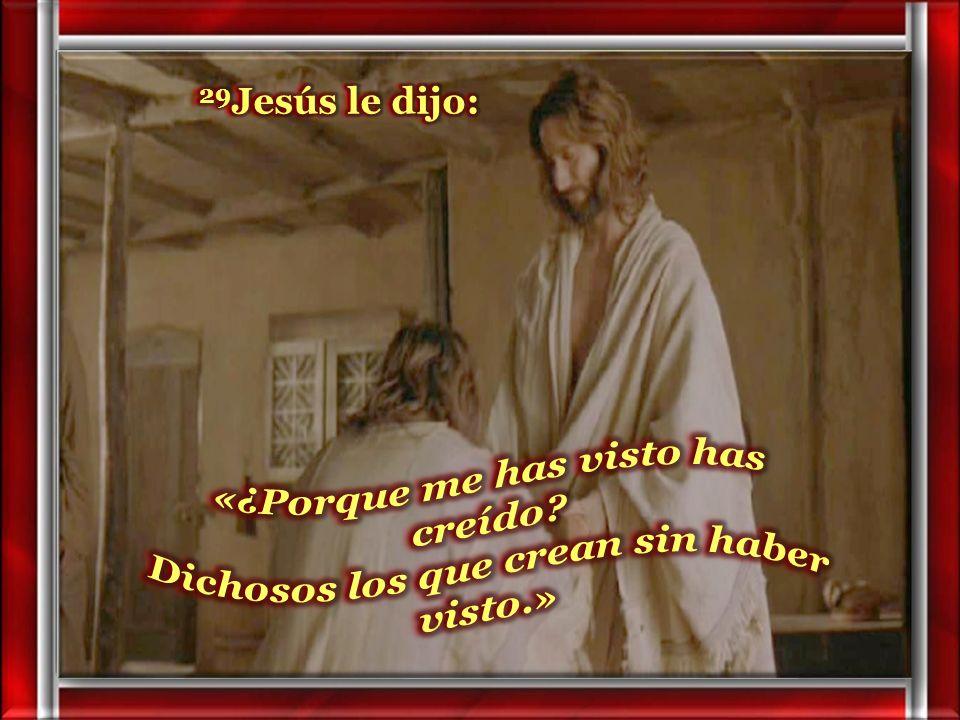 29Jesús le dijo: «¿Porque me has visto has creído Dichosos los que crean sin haber visto.»