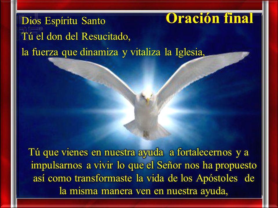 Oración final Dios Espíritu Santo Tú el don del Resucitado, la fuerza que dinamiza y vitaliza la Iglesia,
