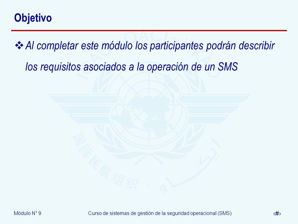 Objetivo Al completar este módulo los participantes podrán describir los requisitos asociados a la operación de un SMS.